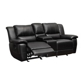 coaster fine furniture lee casual black faux leather reclining loveseat