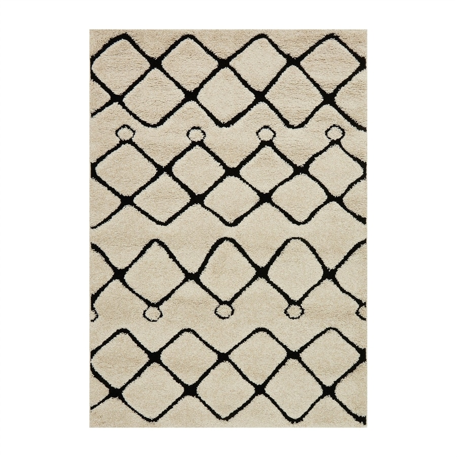Loloi Enchant Ivory/black Rectangular Indoor Machine-made Moroccan Area Rug (Common: 4 X 5; Actual: 3.8-ft W x 5.58-ft L)