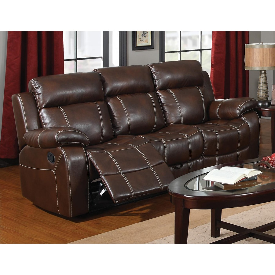 Coaster Fine Furniture Myleene Casual Coffee Faux Leather Reclining Sofa  sc 1 st  Loweu0027s : brown leather reclining couch - islam-shia.org