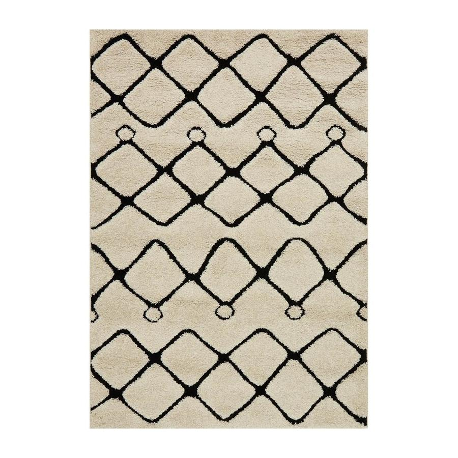 Loloi Enchant Ivory/black Rectangular Indoor Machine-made Moroccan Area Rug (Common: 5 X 7; Actual: 5.25-ft W x 7.58-ft L)