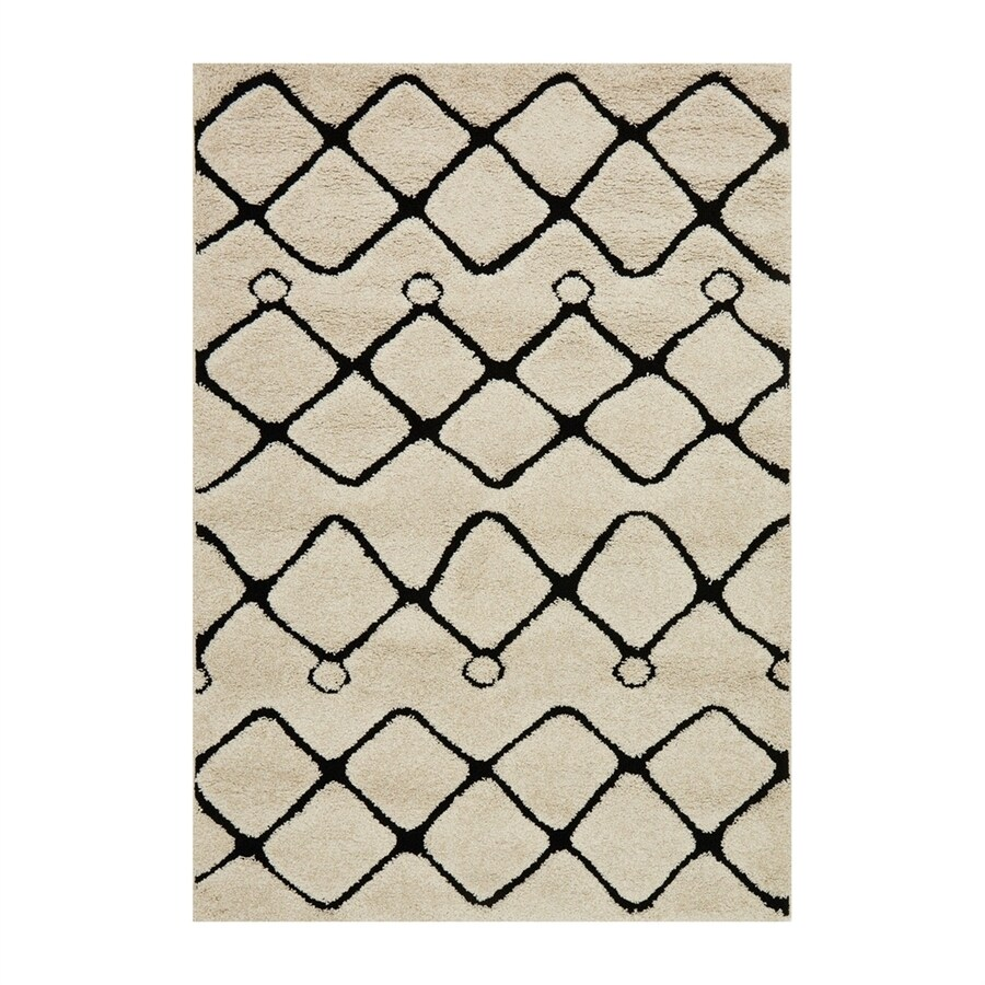 Loloi Enchant Ivory/black Rectangular Indoor Machine-made Moroccan Area Rug (Common: 7 X 10; Actual: 7.58-ft W x 10.5-ft L)