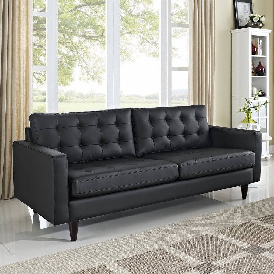 Modway Empress Midcentury Black Faux Leather Sofa At Lowes Com