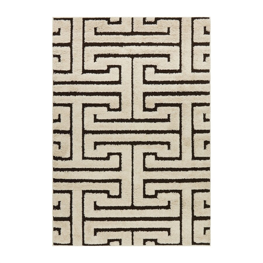 Loloi Enchant Ivory/dark brown Rectangular Indoor Machine-made Moroccan Area Rug (Common: 5 X 7; Actual: 5.25-ft W x 7.58-ft L)