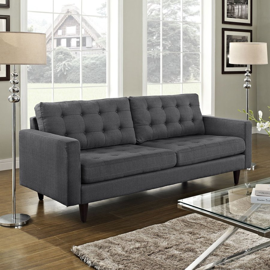 Modway Empress Midcentury Gray Sofa