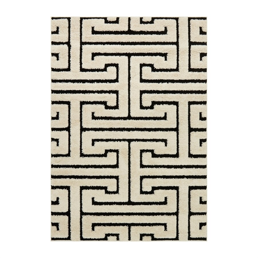 Loloi Enchant Black/white Rectangular Indoor Machine-made Moroccan Area Rug (Common: 5 X 7; Actual: 5.25-ft W x 7.58-ft L)