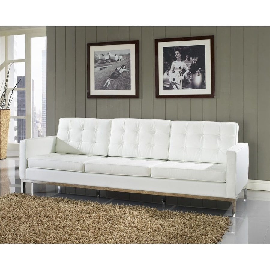 Modway Loft Midcentury White Genuine Leather Sofa At Lowes Com