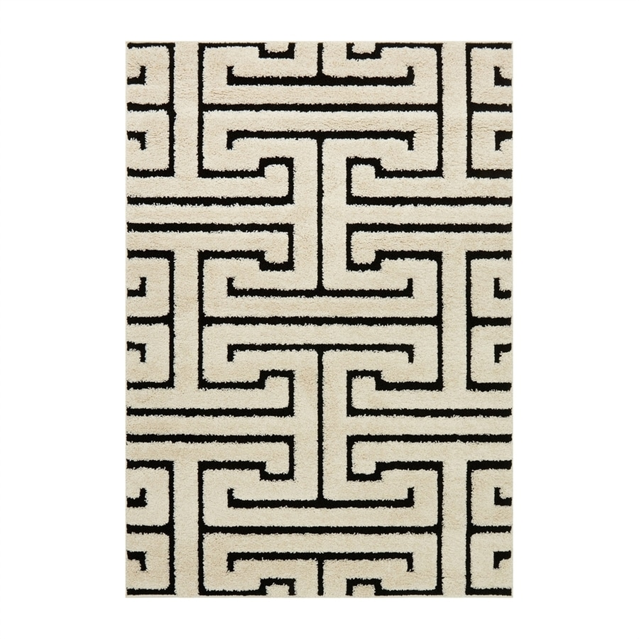 Loloi Enchant Black/white Rectangular Indoor Machine-made Moroccan Area Rug (Common: 7 X 10; Actual: 7.58-ft W x 10.5-ft L)