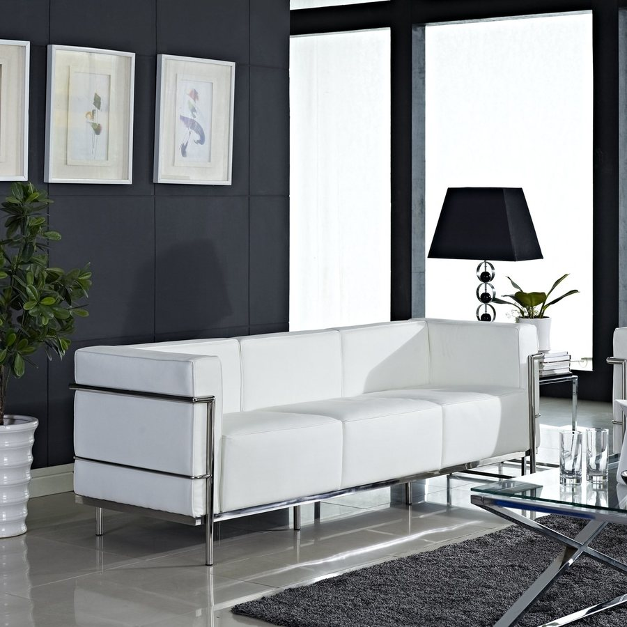 Modway Charles Grande Modern White Genuine Leather Sofa