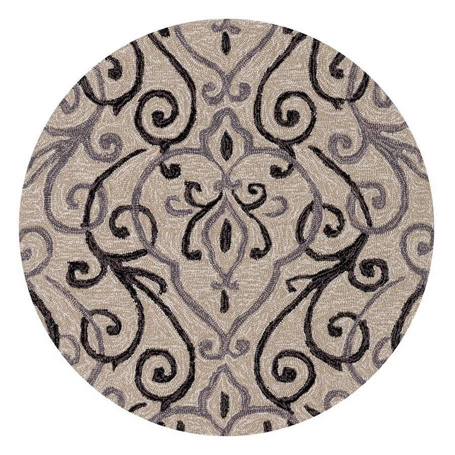 Loloi Francesca Ivory/Gray Round Indoor Handcrafted Throw Rug (Actual: 3-ft dia)