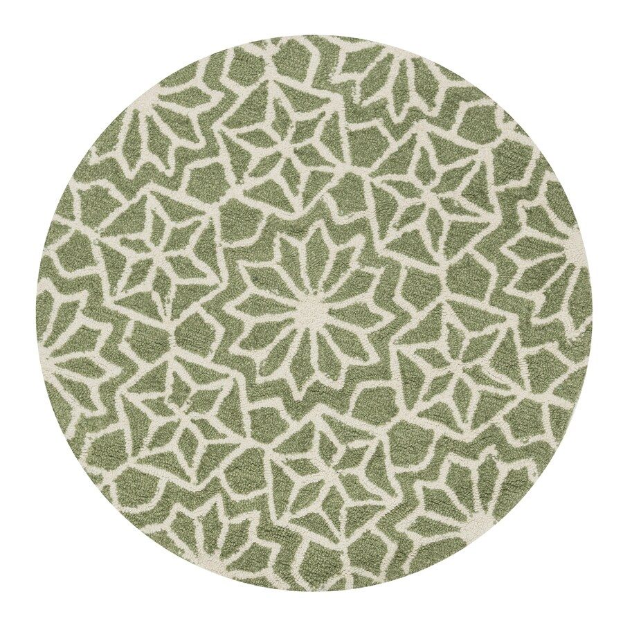 Loloi Francesca Green Round Indoor Handcrafted Throw Rug (Actual: 3-ft dia)
