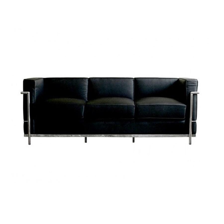 Baxton Studio Le Corbusier Petite Modern Black Genuine Leather Sofa