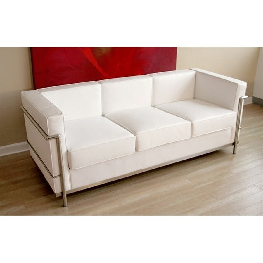 baxton studio le corbusier petite modern white genuine leather sofa