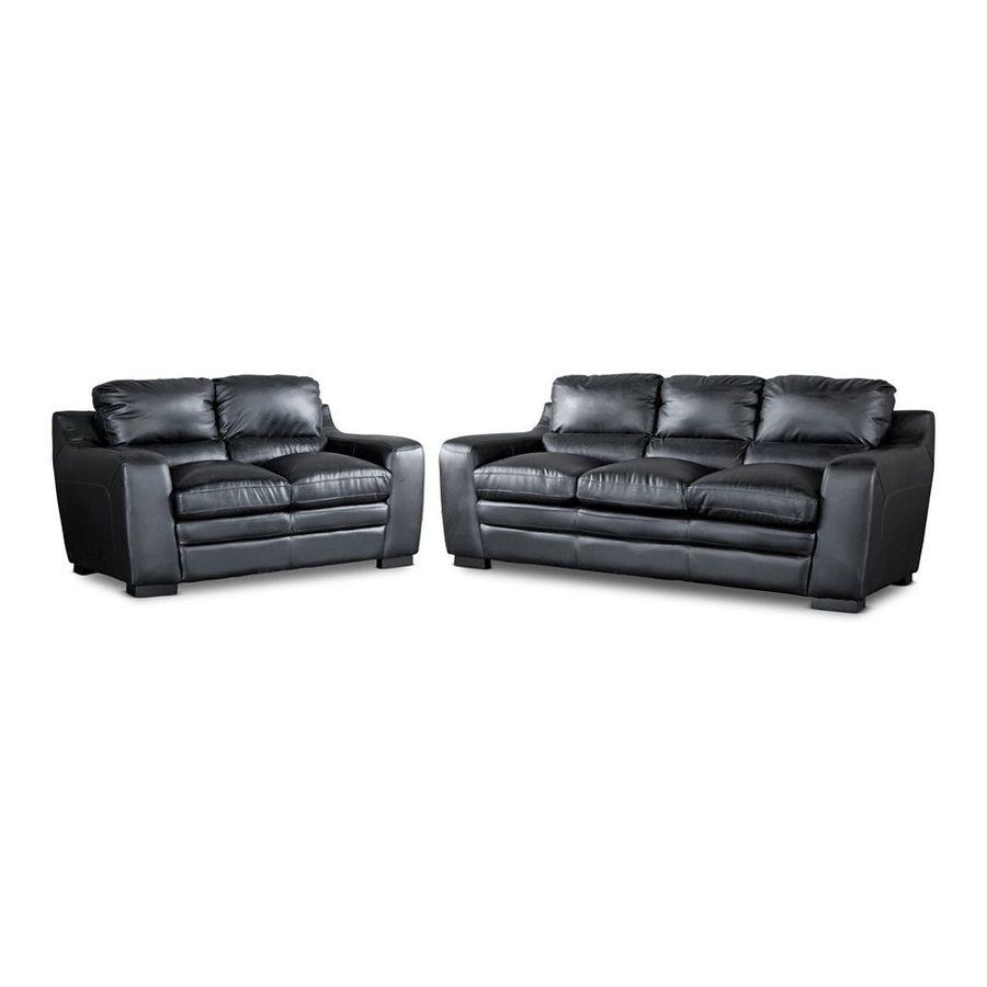 Baxton Studio 2-Piece Diplomat Black Living Room Set