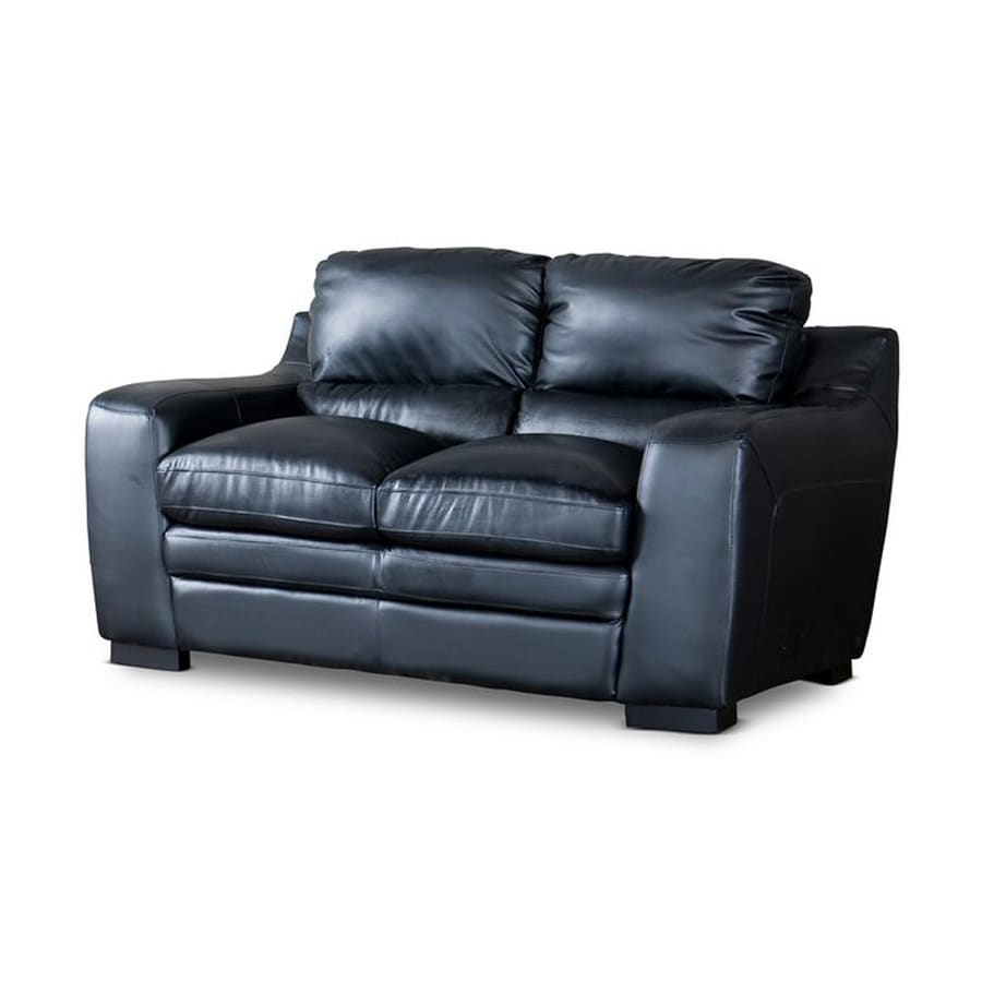 Baxton Studio Diplomat Casual Black Faux Leather Loveseat