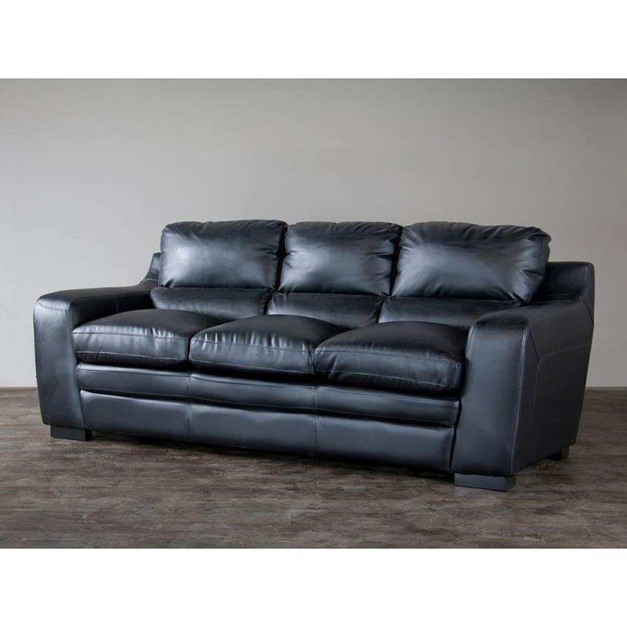 Baxton Studio Diplomat Casual Black Faux Leather Sofa