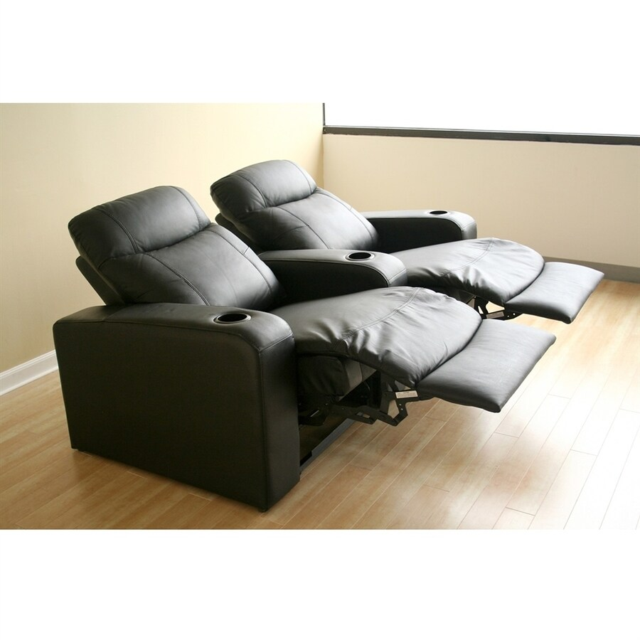 Baxton Studio Set of 2 Cannes Casual Black Faux Leather Theater Seating Chairs