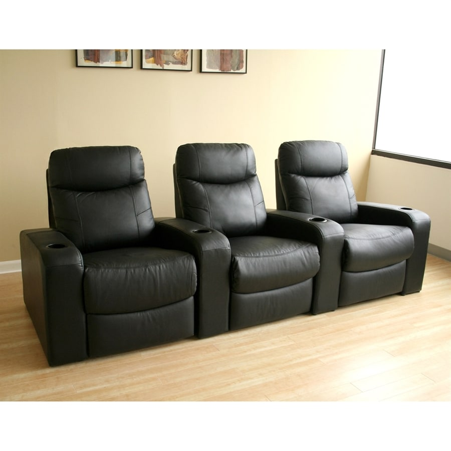 Baxton Studio Set of 3 Cannes Casual Black Faux Leather Theater Seating Chairs