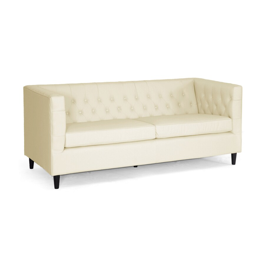 Baxton Studio Darrow Modern Beige Faux Leather Sofa