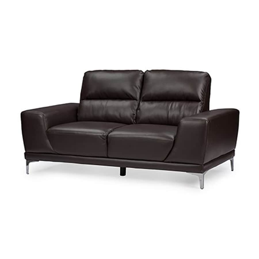 Baxton Studio Lambton Modern Dark Brown Faux Leather Loveseat
