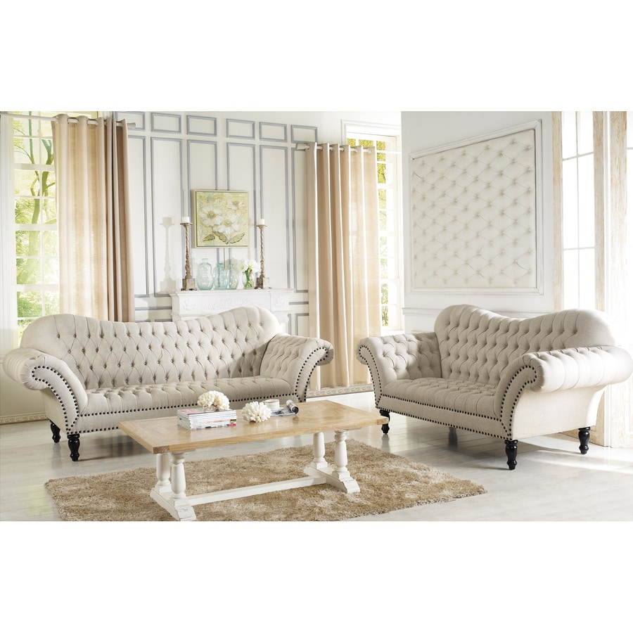 Baxton Studio 2-Piece Bostwick Beige/Black Living Room Set