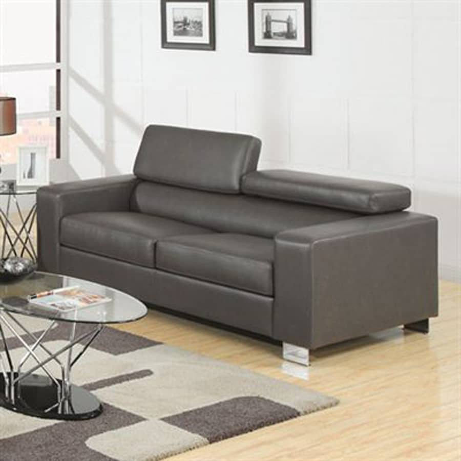 Furniture Of America Makri Modern Grey Faux Leather Sofa