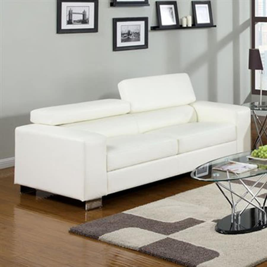 Furniture Of America Makri Modern White Faux Leather Sofa