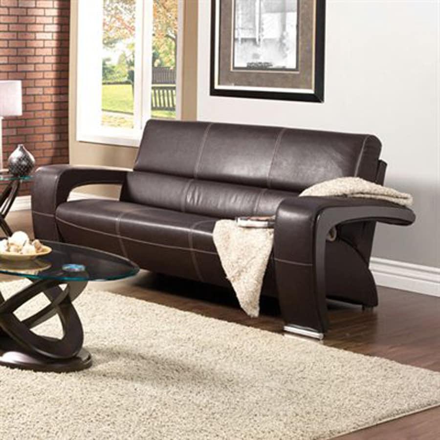 Furniture of America Enez Modern Espresso/Black Faux Leather Sofa