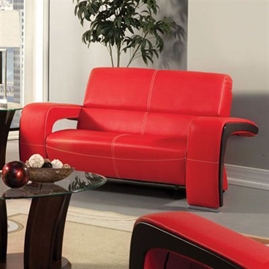 Furniture of America Enez Modern Red/Black Faux Leather Loveseat