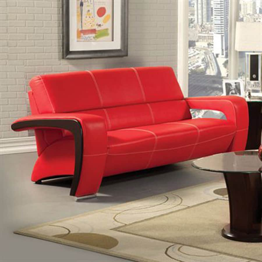 Furniture Of America Enez Modern Red/Black Faux Leather Sofa
