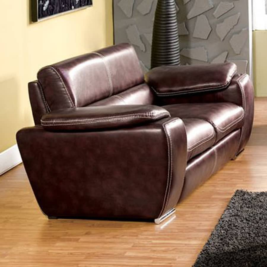 Furniture of America Dinar Modern Dark Chocolate Faux Leather Loveseat