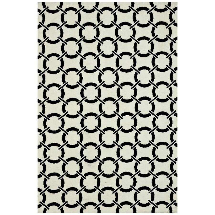 Loloi Charlotte Ivory/onyx Rectangular Indoor Machine-made Area Rug (Common: 7 X 9; Actual: 7.5-ft W x 9.5-ft L)