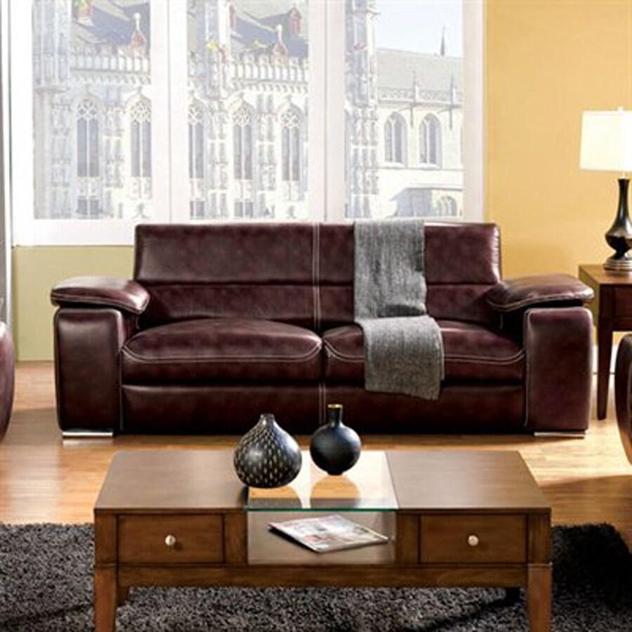 Furniture of America Dinar Modern Dark Chocolate Faux Leather Sofa