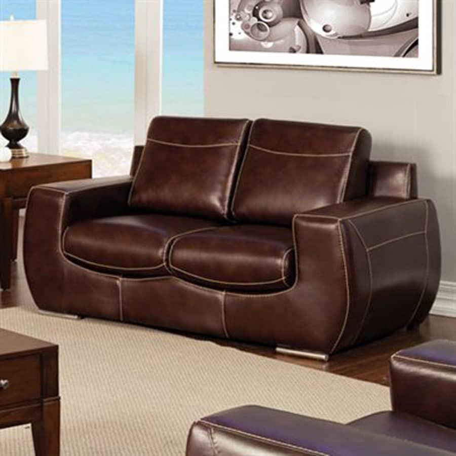 Furniture of America Tekir Modern Dark Chocolate Faux Leather Loveseat