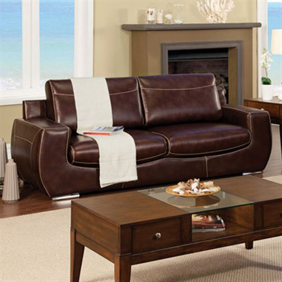 Furniture of America Tekir Modern Dark Chocolate Faux Leather Sofa