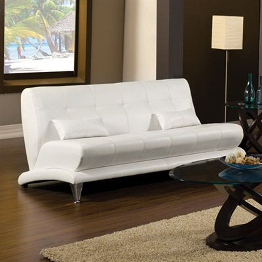 Furniture of America Artem Modern White Faux Leather Sofa