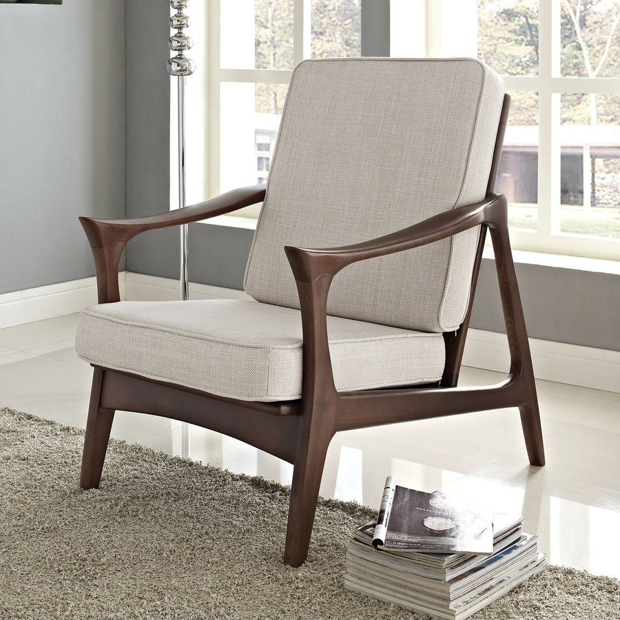 Modway Canoe Midcentury Brown Accent Chair