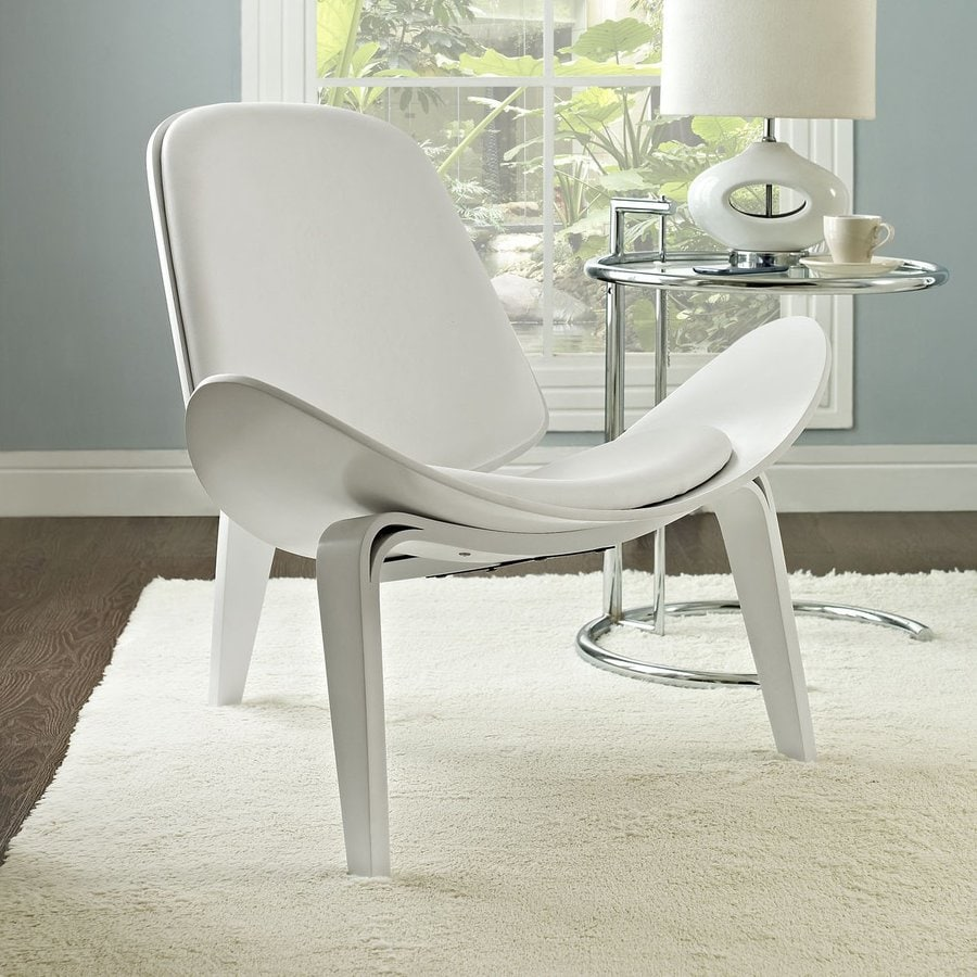 Modway Arch Midcentury White Vinyl Accent Chair