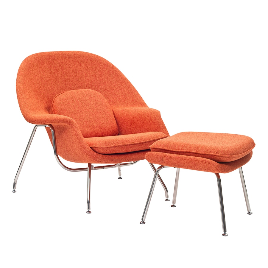 Modway Set of 2 W Midcentury Orange Tweed Wool Accent Chairs