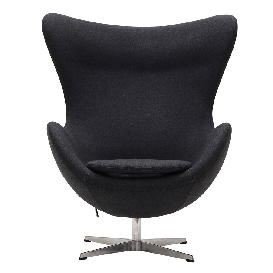 Modway Glove Modern Dark Gray Wool Wingback Chair