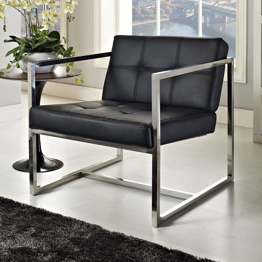 Modway Hover Modern Black Vinyl Accent Chair