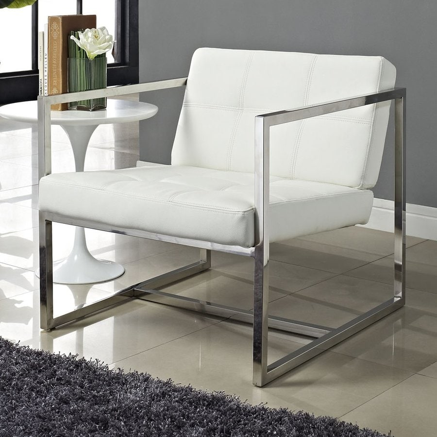 Modway Hover Modern White Vinyl Accent Chair