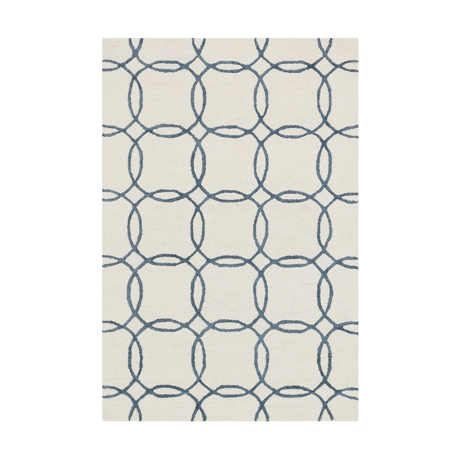 Loloi Panache Ivory/blue Rectangular Indoor Handcrafted Area Rug (Common: 3 X 5; Actual: 3.5-ft W x 5.5-ft L)