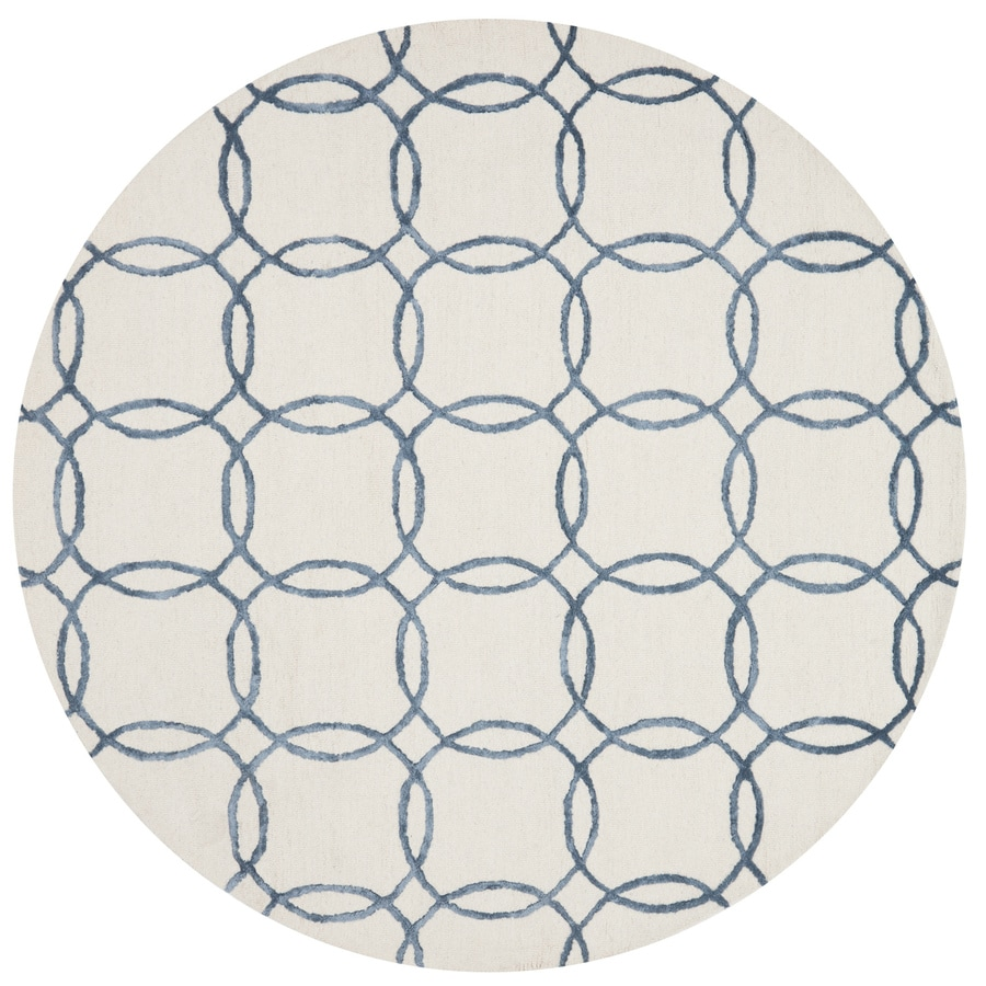 Loloi Panache Ivory/blue Round Indoor Handcrafted Area Rug (Common:; Actual: W x L x 7.5-ft dia)