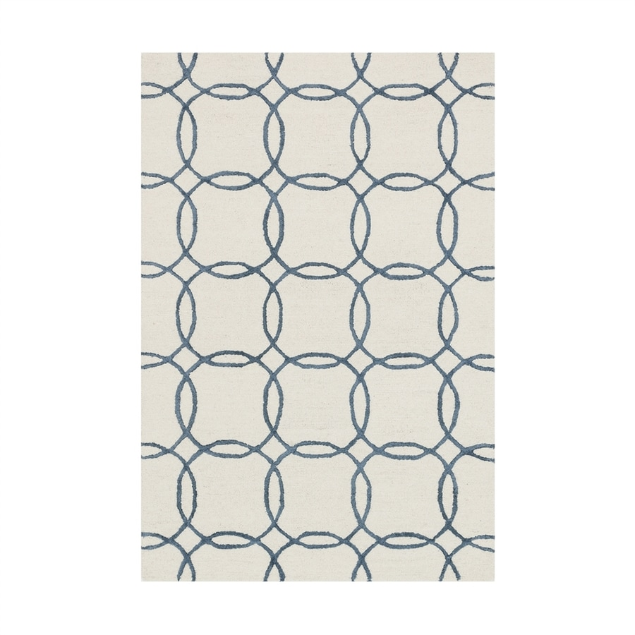 Loloi Panache Ivory/blue Rectangular Indoor Handcrafted Area Rug (Common: 7 X 9; Actual: 7.5-ft W x 9.5-ft L)
