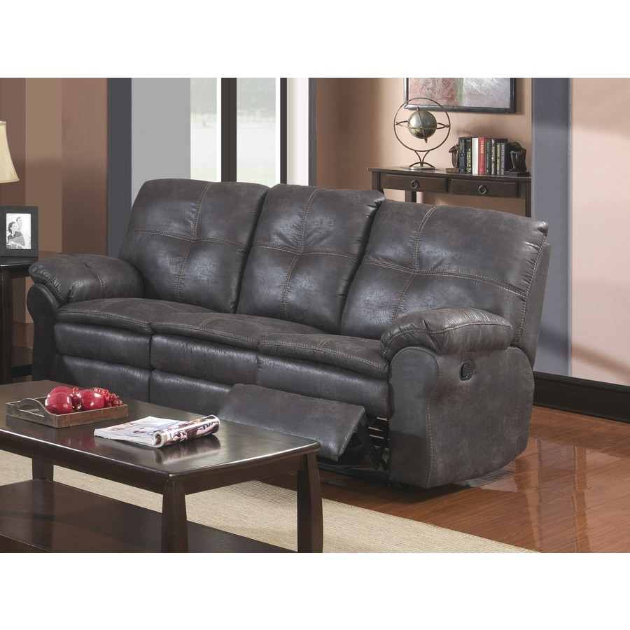Sunset Trading Comfort Zone Casual Steel Grey Faux Leather Reclining Sofa