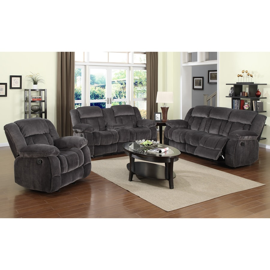 Sunset Trading 3 Piece Madison Charcoal Blue/Gray Living Room Set