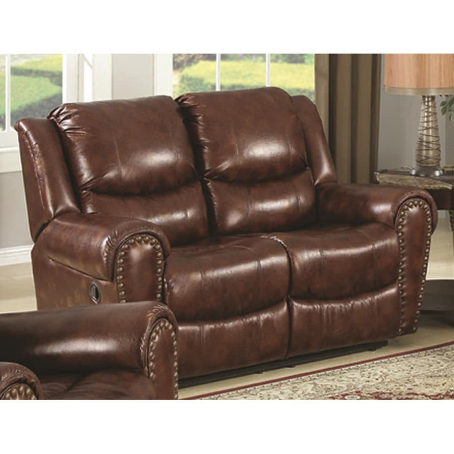 Sunset Trading Oxford Casual Brown Faux Leather Reclining Loveseat