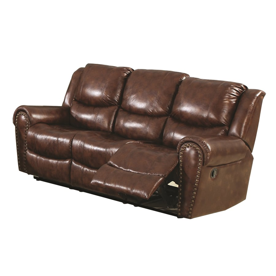 Sunset Trading Oxford Casual Brown Faux Leather Reclining Sofa