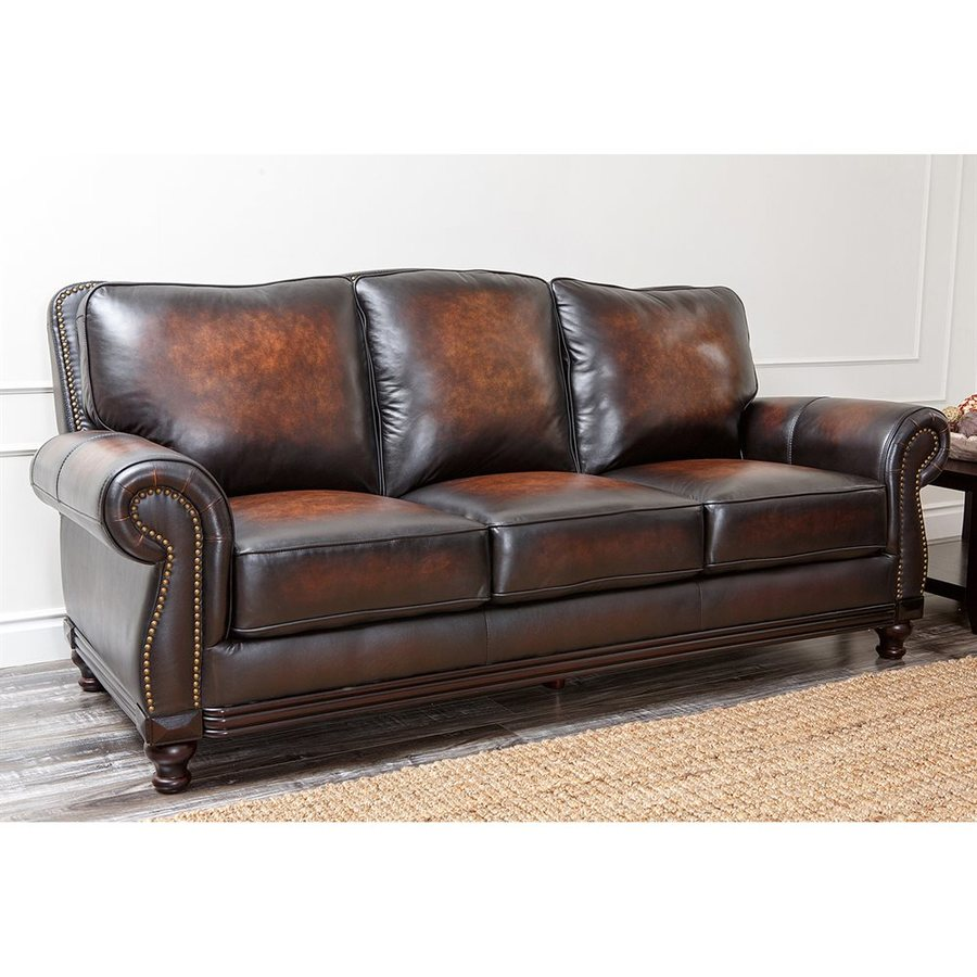 Pacific Loft Barclay Casual Walnut Genuine Leather Sofa