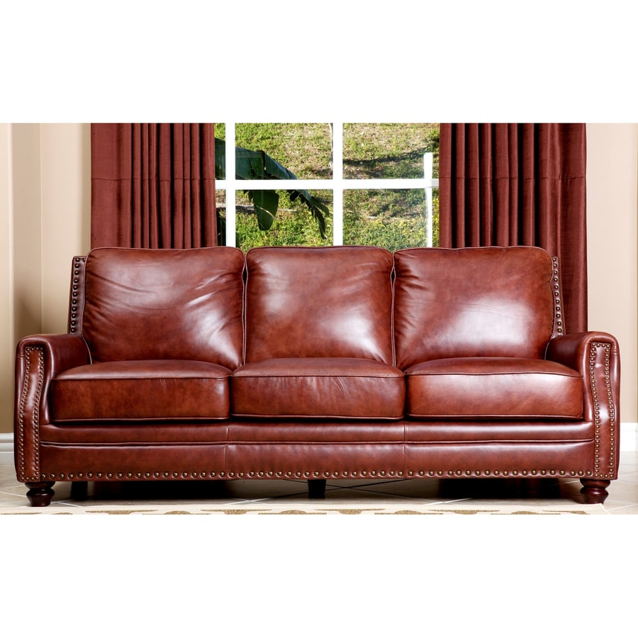 Pacific Loft Bel Air Casual Chestnut Brown Genuine Leather Sofa